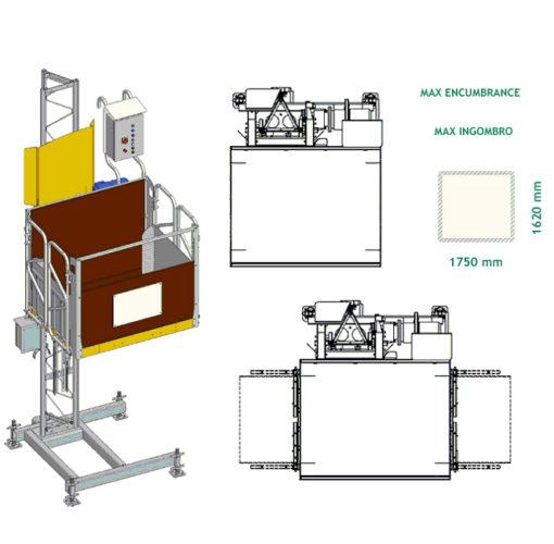 EPHM 1000 építési építőipari építési oszlopos teherfelvonó teherlift bérlése kölcsönzése